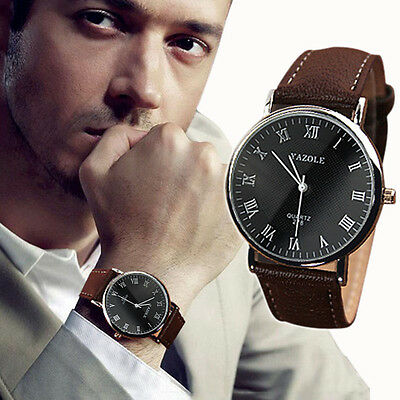 Luxury Fashion Faux Leather Mens Quartz Analog Watch Watches Elegant