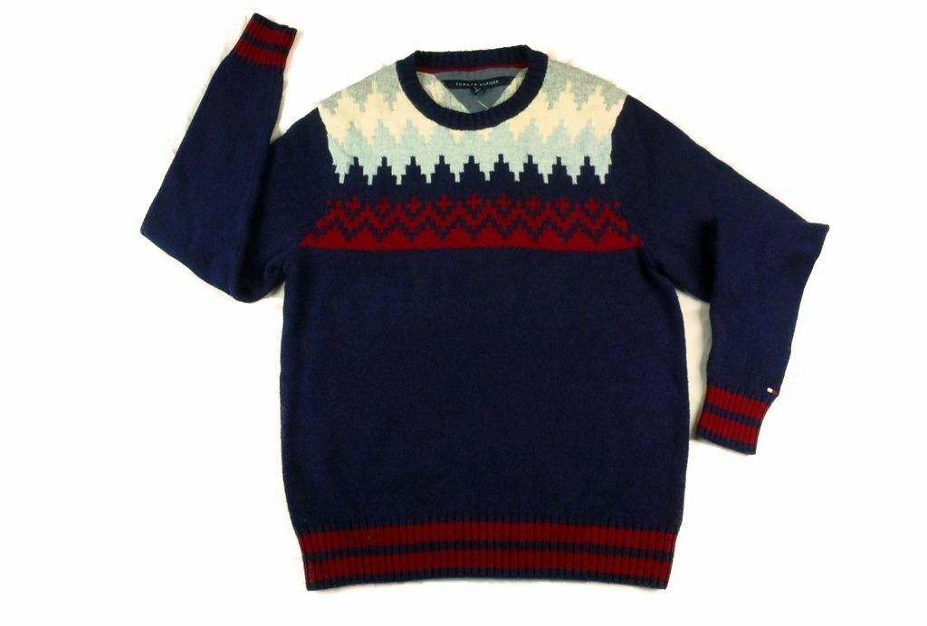 129 New  Herren TOMMY HILFIGER SnowFlake Sweater SMALL ROT/Navy Blau winter cable
