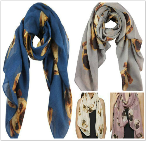 Womens Animal Dog Print Scarf Ladies Neck Shawl Girls Winter Warp Soft Cute Gift