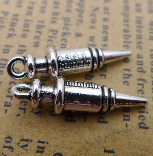 10x Charms Medical Syringe 3D Tibetan Silver Beads Pendant DIY 6*25mm
