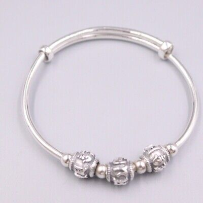 """S925 Sterling Silver  Bracelet Lucky Double Bead Chain Link 6.7/""""L"""