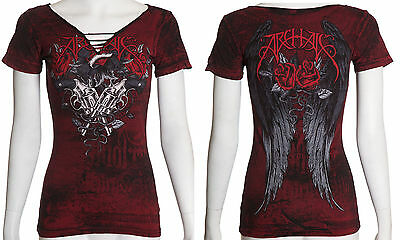 Archaic AFFLICTION Womens T-Shirt CARTRIDGE Wings Tattoo Biker Sinful S-XL $36