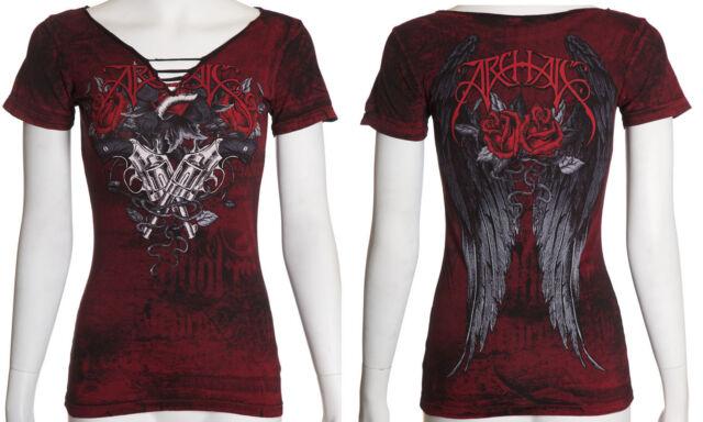 Archaic AFFLICTION Womens T-Shirt CARTRIDGE Wings Tattoo Biker Sinful S-XL $36