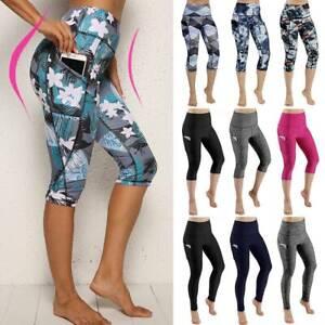 Women-039-s-Capri-YOGA-Pants-Pockets-Gym-Sports-Fitness-Cropped-Leggings-Workout-G18