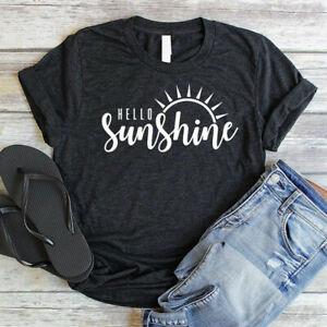 Women-039-s-Hello-Sunshine-Sun-Tee-Short-Sleeve-Top-Funny-Casual-Blouse-T-Shirt