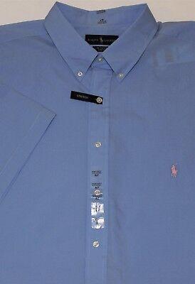 2XLT New $95 Ralph Lauren Short Sleeve Blue Check Cotton Poplin Shirt