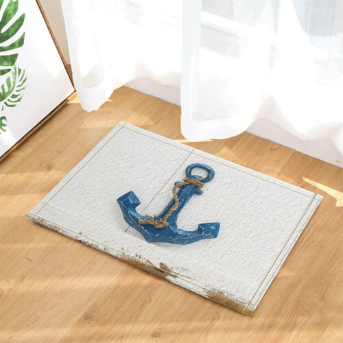 Blue anchor on old wooden Shower Curtain Bathroom Waterproof Fabric /& 12Hooks