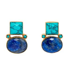 Brand-New-Handmade-VintageLook-Turquoise-amp-Lapis-Lazuli-18k-Gold-Plated-Earrings