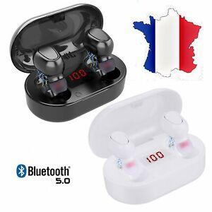 TWS Écouteur Bluetooth 5.0 Sans Fil Stéréo Casque Écouteur LED Pour iOS Android