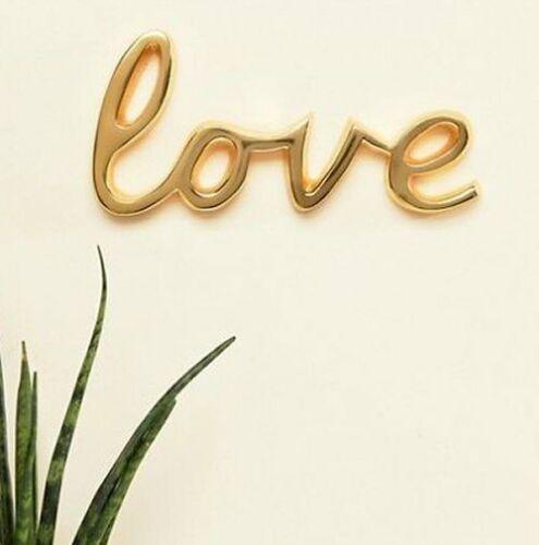 GOLD LOVE CAST BRASS WORD DECOR WALL ORNAMENT BEDROOM WEDDING DECOR HOME ART