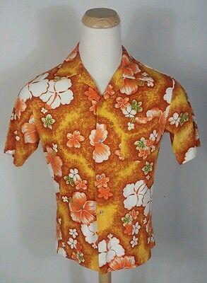 Vtg 60s Orange Floral Barkcloth Pomare Hawaiian Camp Aloha Shirt Retro Mid Centu