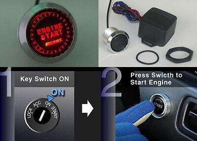 12V Engine Start Push Button Switch Ignition Starter Kit Red Led Fit All Cars