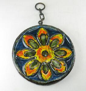 Ruscha-Fat-Lava-Space-Age-Keramik-Fliesse-Wandbehang-Sonnenblume-Wandplatte-60er
