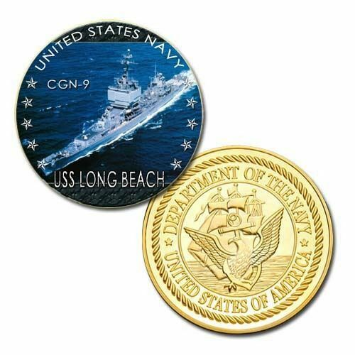 United States NavyUSS Long Beach CGN-9Gold Plated Challenge Coin U.S