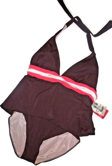 SPANX Shore thin 735 one piece slimming Swimsuit  size 10  Brown