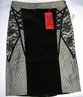 Tripp Nyc Pencil Skirt Velvet Floral Lace Black Beige, Gothic, Nwt, Xs, M