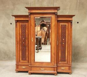 Large Antique German Burl Walnut 3 Door Armoire Wardrobe ...