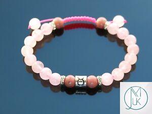 Taurus-Rhodonite-Rose-Quartz-Birthstone-Bracelet-6-9-039-039-Macrame-Healing-Stone