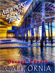 Newport Beach Pier California United States Travel Advertisement Art Poster
