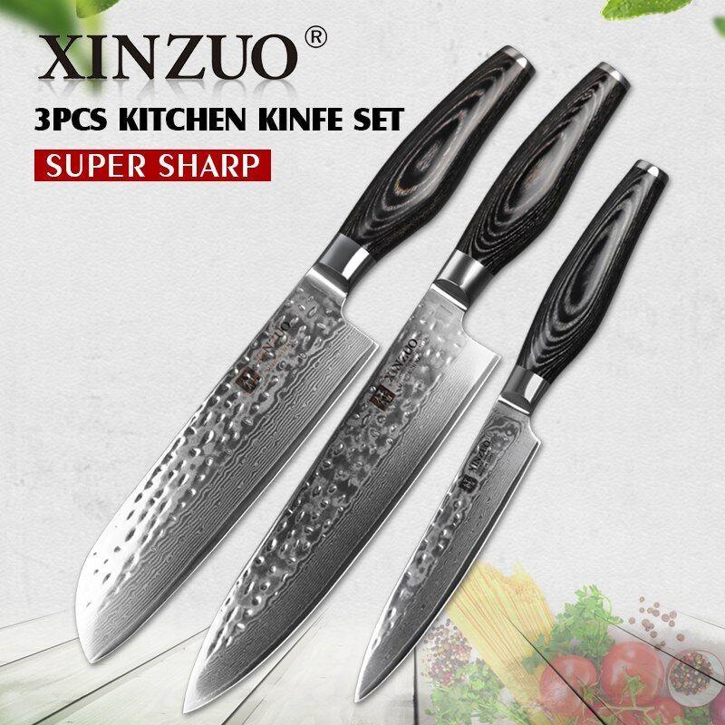 Knife Set Damascus Steel 73 Layers Chef Santoku Utility Kitchen Knives Japanese