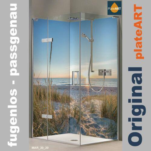 TILE REPLACEMENT Corner SHOWER BACK WALL REAR PANEL SHOWER ALUMINIUM Motif Maritim Baltic Coast