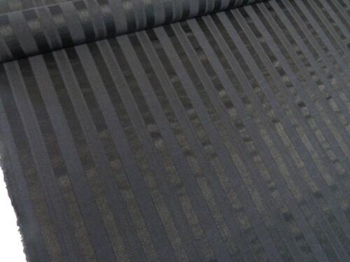 Designer Jet Black Peru Stripe Damask Curtain Fabric Upholstery Cushions Stripey