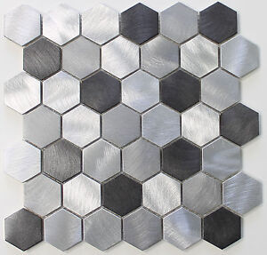 Image Is Loading Uptown Brushed Aluminum 2 Inch Hexagon Mosaic Tiles
