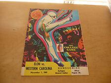 1969 WESTERN CAROLINA AT ELON (NC) COLLEGE FOOTBALL PROGRAM EX-MINT