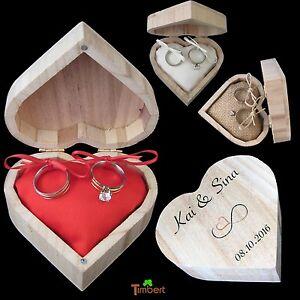 Ringbox Ringkissen Vintage Hochzeit Holz Box Herz Ringe Eheringe