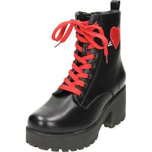 4799ef58715 Details about Chunky Heel Platform Gothic Punk Ankle Lace Up Boots Red  Heart Cupid Mid Combat