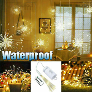 200-LED-Hanging-Lamp-Starburst-Fireworks-Fairy-String-Light-Xmas-Party-Decor-D