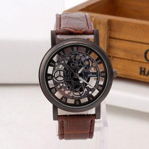 Elegant-montre-Homme-Cadran-Noir-Or-Inox-Acier-Date-Quartz-Squelettique