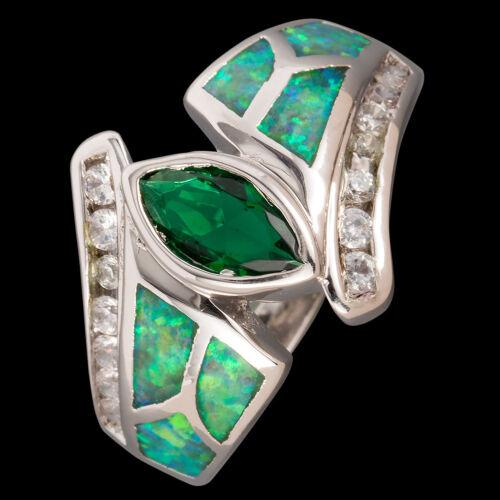Marquise Cut Emerald Kiwi Green Fire Opal Silver Jewelry US Ring Size 7 8 9 10