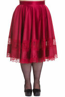 Hell Bunny Plus Size Gothic Retro Swing Burgundy Red Lace Diana Skirt 2x 3x 4x