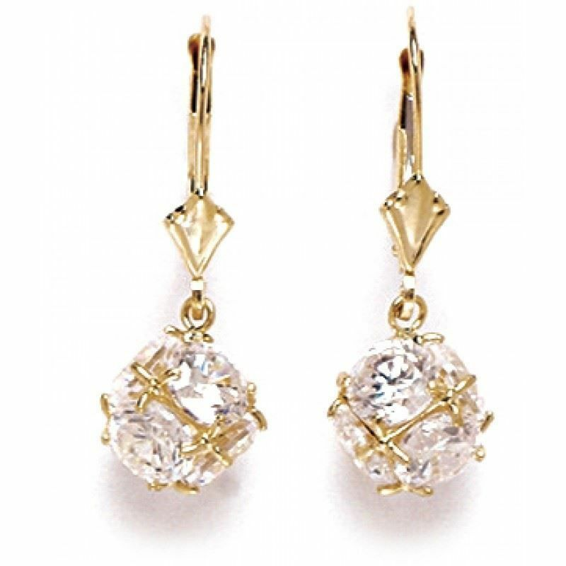 14K Solid Yellow gold White Sapphire Dangle Ball Earrings ER-L65