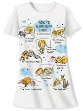 """Relevant Products """"How to sleep with a dog"""" white sleep night shirt cotton"""