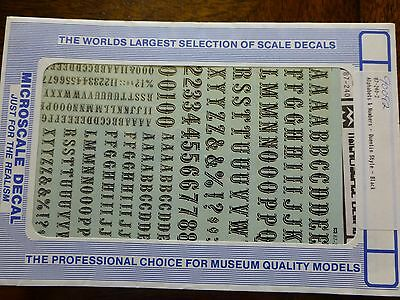 Microscale Decal #90092 Quentin Style - Alphabets & Numbers - Bk - 1:87 Scale
