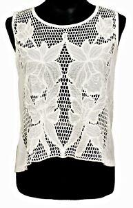 Womens-Sleeveless-Top-Lace-White-Floral-Crochet-Size-L-Tank-Vest-Cotton-Rayon
