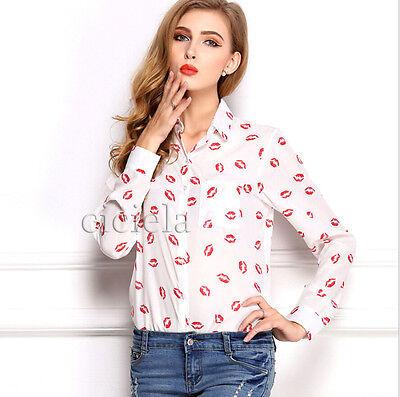 Fashion Sexy Ladies Women's Chiffon Long Sleeve Floral Shirt Tops Blouse T-shirt