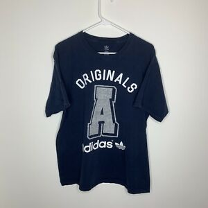 adidas-Originals-Men-039-s-L-Navy-Blue-amp-White-A-Short-Sleeve-Shirt
