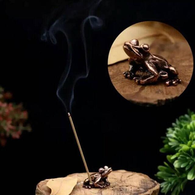 alloy frog incense burner holder flower statue censer plate for sticks cone YJji