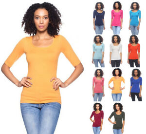 Women-039-s-Basic-Seamless-Stretch-Scoop-Neck-3-4-Sleeve-Fitted-Top-T-Shirt-Solids