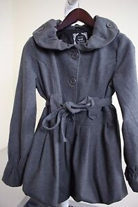 Yoki-Polyester-amp-Wool-Blend-Gray-3-Button-Lined-Pleated-Belted-Pea-coat-Size-M