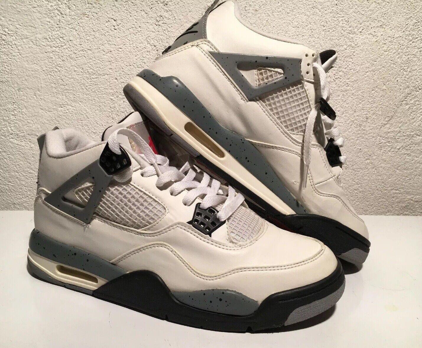 new product 784ee 1d96c 1999 Nike Air Jordan Retro IV White White White Cement 136013 101 Size 10  Black Grey