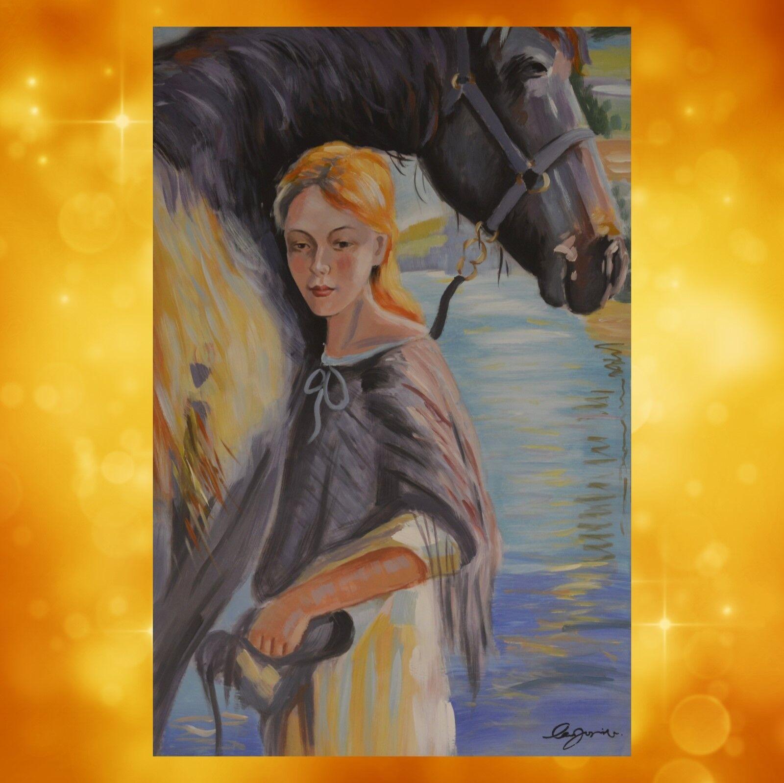 Leinwand Gemälde Reiterin mit Pferd Vintage Geschenk Deko Geschenk  80x120cm