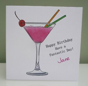 Handmade Personalised Female Birthday Cocktail Birthday Card 18th 21st 30th 40th
