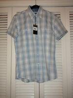 Zagiri Kms-2355 Short Sleeve Jacquard Plaid Shirt American Pie Mint Blue S