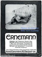 Ernemann Kamera Reklame von 1912 Bob fahren Schlitten Bobbahn Camera Anastigma