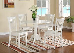 Details about 5pc Dublin dinette set round pedestal kitchen table w/ 4 wood  chairs linen white