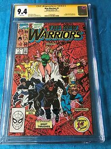 New-Warriors-1-Marvel-CGC-SS-9-4-NM-Signed-by-Mark-Bagley